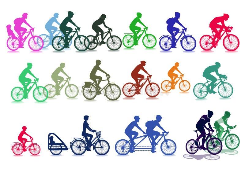 Απεικονίσεις ποδηλατών διανυσματική απεικόνιση