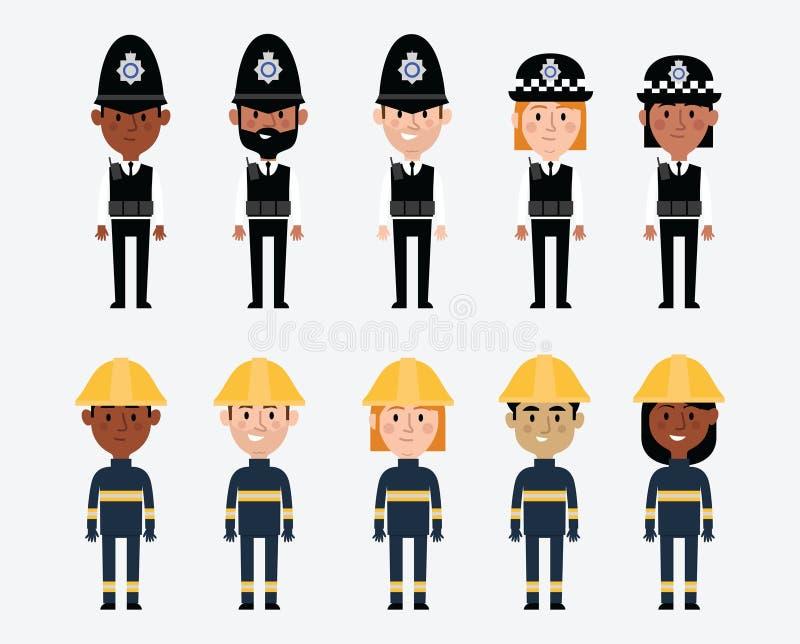 Απεικονίσεις των επαγγελμάτων στη βρετανική αστυνομία και τις υπηρεσίες πυρόσβεσης διανυσματική απεικόνιση
