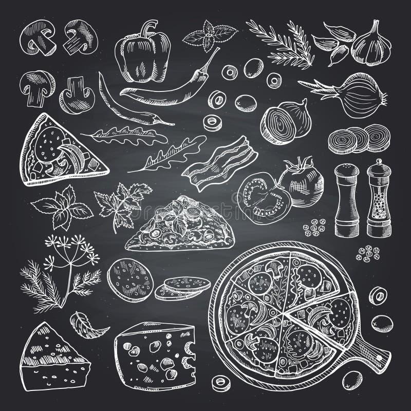 Απεικονίσεις των συστατικών πιτσών στο μαύρο πίνακα κιμωλίας Σύνολο εικόνων ιταλικής κουζίνας στοκ φωτογραφία