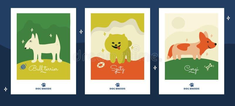 Απεικονίσεις των φυλών σκυλιών Αστείες αφίσες ελεύθερη απεικόνιση δικαιώματος