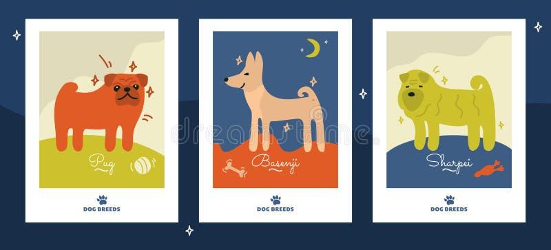 Απεικονίσεις των φυλών σκυλιών Πρότυπο για το έμβλημα διανυσματική απεικόνιση