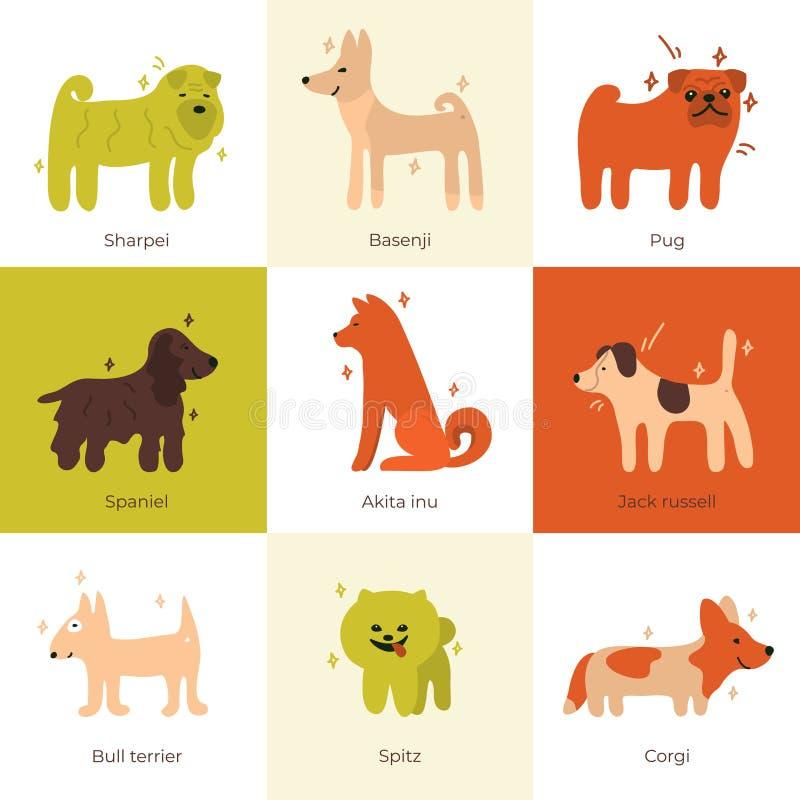 Απεικονίσεις των φυλών σκυλιών Σύνολο διανυσματικών εικονιδίων με τα σκυλιά ελεύθερη απεικόνιση δικαιώματος