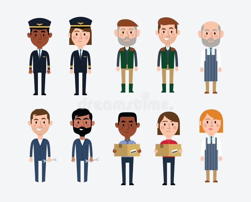 Απεικονίσεις χαρακτήρα που απεικονίζουν τα ανάμεικτα επαγγέλματα ελεύθερη απεικόνιση δικαιώματος
