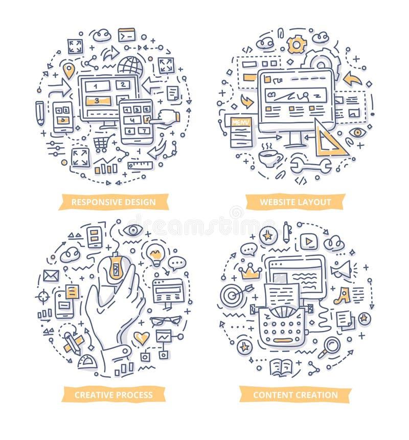 Απεικονίσεις Doodle σχεδίου ιστοχώρου απεικόνιση αποθεμάτων