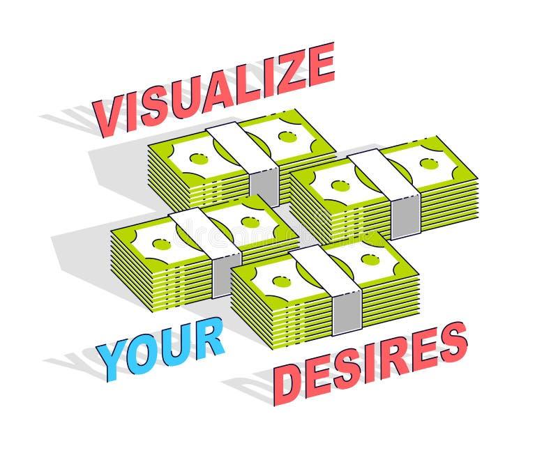 Απεικονίστε την αφίσα επιχειρησιακού κινήτρου στόχων ή το έμβλημά σας, μετρητά διανυσματική απεικόνιση