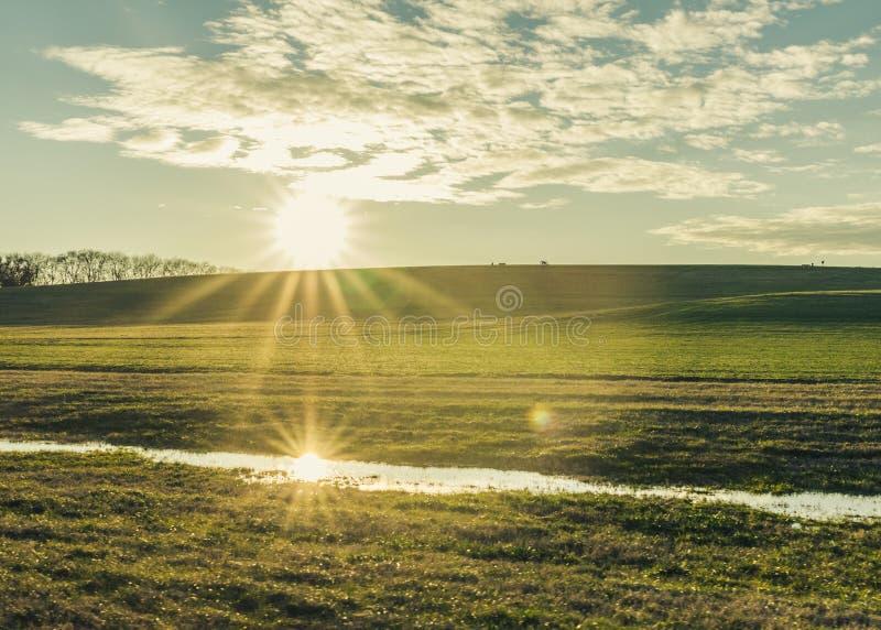 Απεικονισμένος ήλιος Starburst σε ένα πράσινο Hill στοκ εικόνα με δικαίωμα ελεύθερης χρήσης