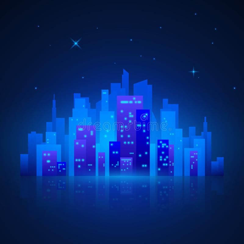 απεικονισμένος νύχτα ποταμός τοπίων του Κρεμλίνου πόλεων Φουτουριστικά φω'τα πόλεων νύχτας Σκιαγραφία πόλεων στο μπλε υπόβαθρο επ απεικόνιση αποθεμάτων
