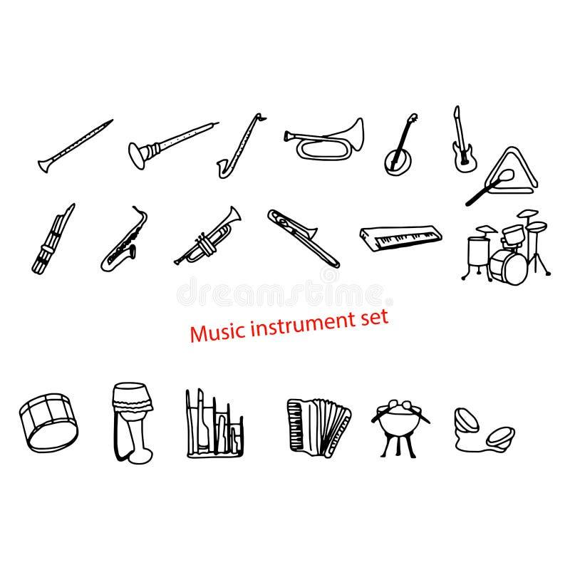 Απεικόνισης διανυσματικό σύνολο οργάνων μουσικής doodles συρμένο χέρι διανυσματική απεικόνιση