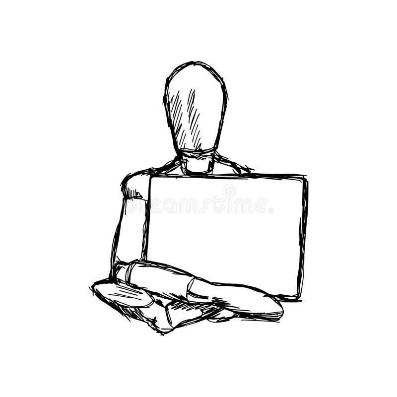 Απεικόνισης χέρι doodle που σύρεται διανυσματικό του παλαιού wo μανεκέν σκίτσων ελεύθερη απεικόνιση δικαιώματος