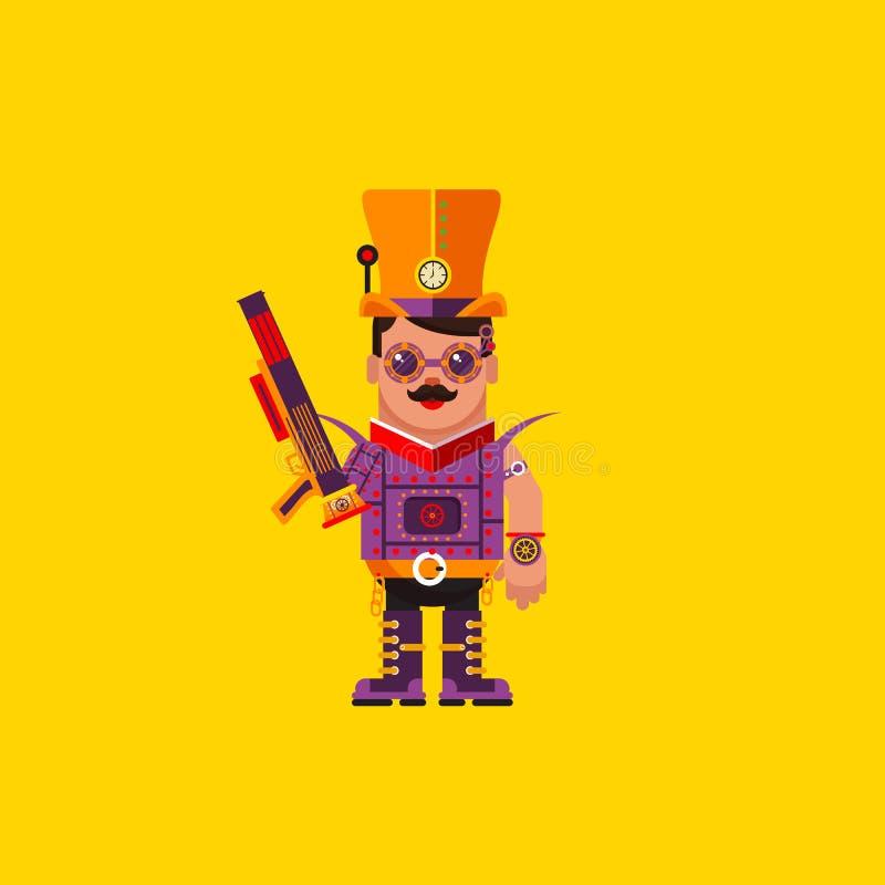 Απεικόνιση ένας χαρακτήρας steampunk για αποκριές στο επίπεδο ύφος ελεύθερη απεικόνιση δικαιώματος