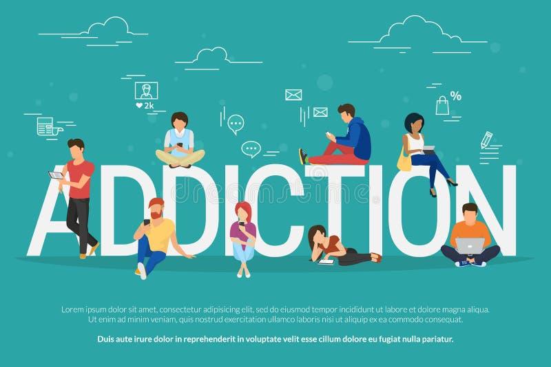 Απεικόνιση έννοιας εθισμού των νέων που χρησιμοποιούν τις συσκευές όπως το lap-top, smartphone, ταμπλέτες ελεύθερη απεικόνιση δικαιώματος