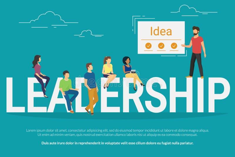 Απεικόνιση έννοιας ηγεσίας προγράμματος των επιχειρηματιών που εργάζονται μαζί ως ομάδα απεικόνιση αποθεμάτων