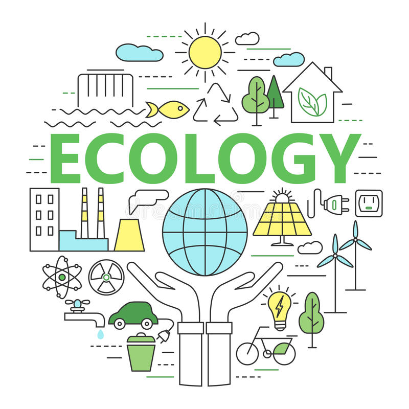 Απεικόνιση έννοιας οικολογίας και περιβάλλοντος, λεπτά επίπεδα des γραμμών ελεύθερη απεικόνιση δικαιώματος