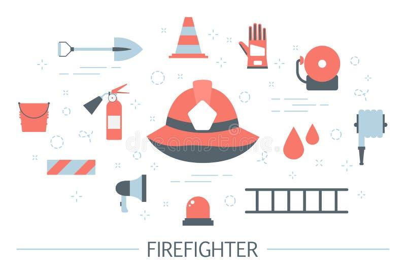 Απεικόνιση έννοιας πυροσβεστών Σύνολο εξοπλισμού πυροσβεστών διανυσματική απεικόνιση