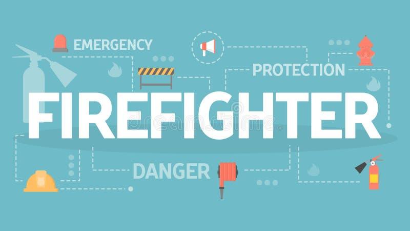 Απεικόνιση έννοιας πυροσβεστών Σύνολο εξοπλισμού πυροσβεστών ελεύθερη απεικόνιση δικαιώματος