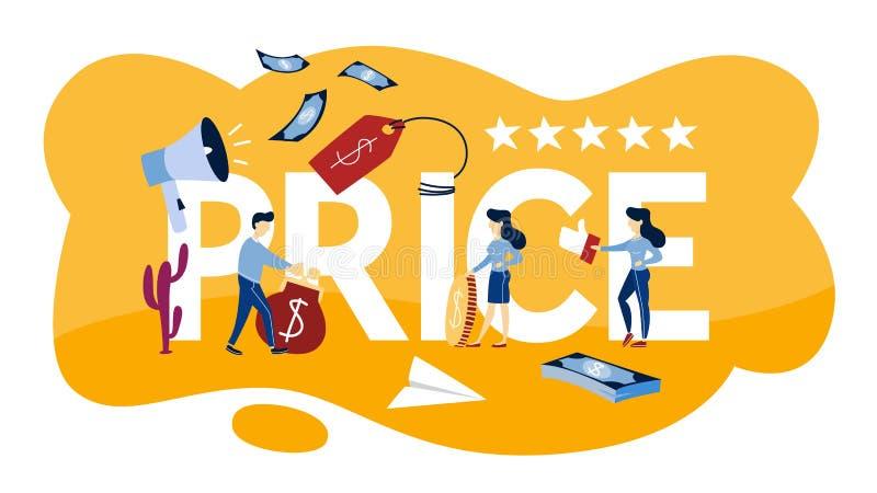 Απεικόνιση έννοιας τιμών Κόστος της ανάλυσης προϊόντων ελεύθερη απεικόνιση δικαιώματος
