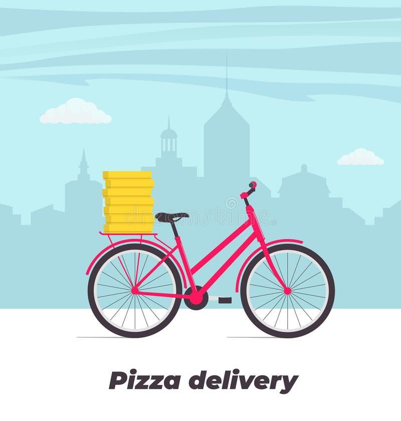 Απεικόνιση έννοιας υπηρεσιών παράδοσης πιτσών Ποδήλατο με τα κιβώτια πιτσών στον κορμό Μεγάλη πόλη στο υπόβαθρο Διανυσματικό επίπ απεικόνιση αποθεμάτων