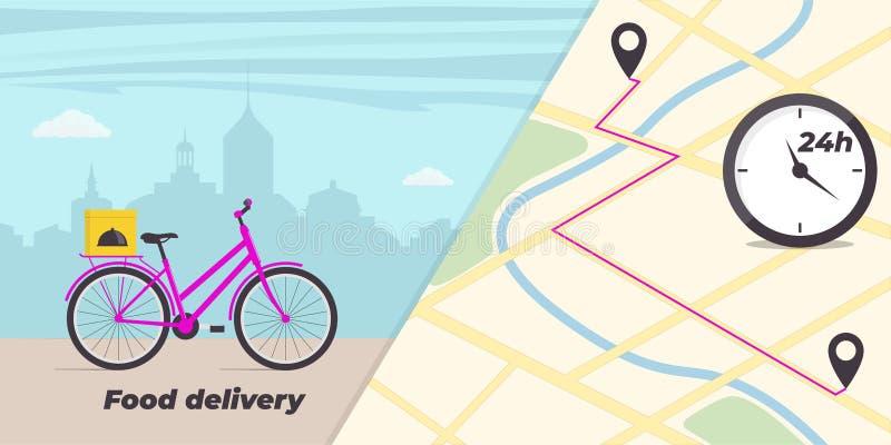 Απεικόνιση έννοιας υπηρεσιών παράδοσης τροφίμων Ποδήλατο με το κιβώτιο τροφίμων στον κορμό Μεγάλη πόλη στο υπόβαθρο Χάρτης πόλεων διανυσματική απεικόνιση