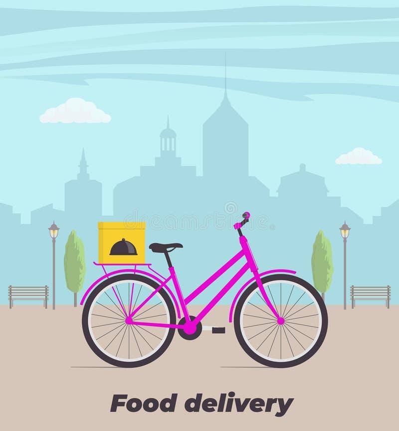 Απεικόνιση έννοιας υπηρεσιών παράδοσης τροφίμων Ποδήλατο με το κιβώτιο τροφίμων στον κορμό Μεγάλη πόλη στο υπόβαθρο Διανυσματική  διανυσματική απεικόνιση