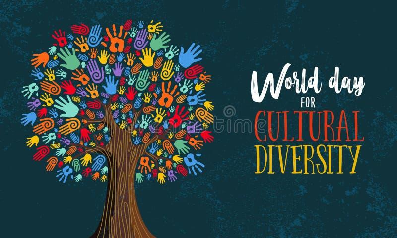 Απεικόνιση έννοιας χεριών δέντρων ημέρας πολιτισμικής ποικιλομορφίας διανυσματική απεικόνιση