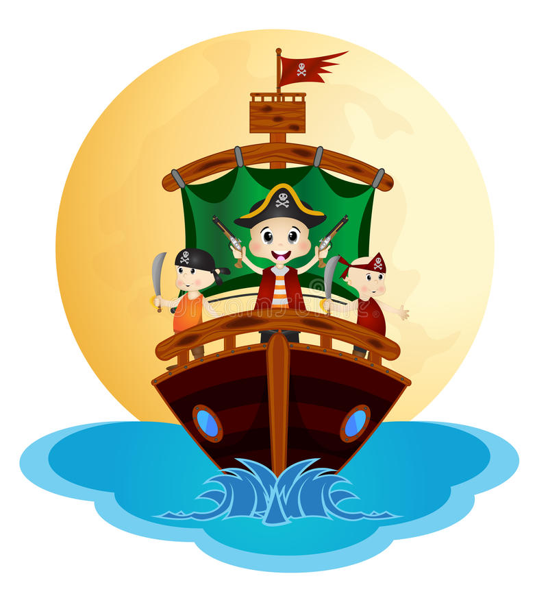 Απεικόνιση λίγου πανιού πειρατών με το σκάφος ελεύθερη απεικόνιση δικαιώματος