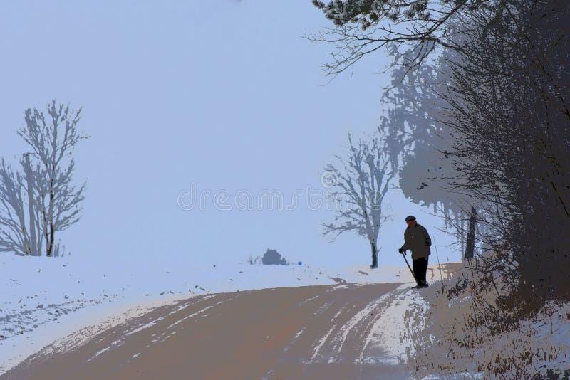 απεικόνιση αγροτική σκηνή Ηληκιωμένος που περπατά κοντά στο σπίτι στοκ εικόνες