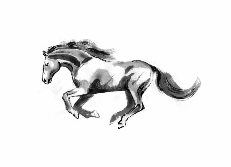 Απεικόνιση αλόγων sumi-ε διανυσματική απεικόνιση