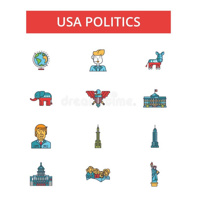 Απεικόνιση αμερικανικής πολιτικής, λεπτά εικονίδια γραμμών, γραμμικά επίπεδα σημάδια, διανυσματικά σύμβολα ελεύθερη απεικόνιση δικαιώματος