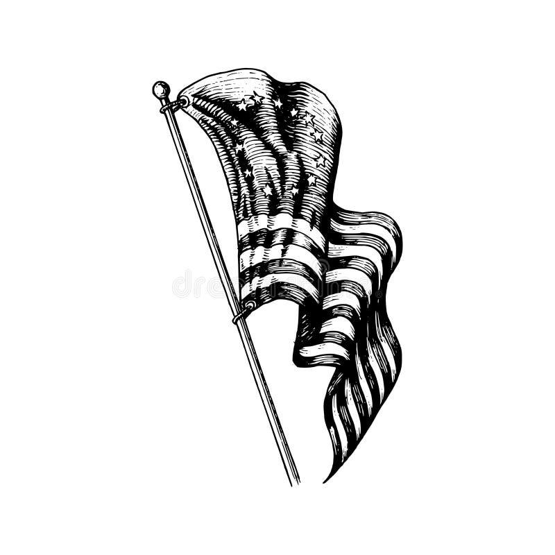 Απεικόνιση ΑΜΕΡΙΚΑΝΙΚΩΝ πρώτος σημαιών στο χαραγμένο ύφος Διανυσματικό σχέδιο της ημέρας της ανεξαρτησίας για τη ευχετήρια κάρτα, διανυσματική απεικόνιση