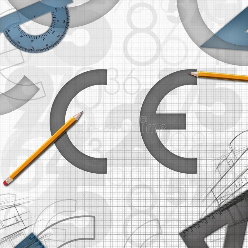 Απεικόνιση ανασκόπησης Ευρωπαϊκής Κοινότητας CE ελεύθερη απεικόνιση δικαιώματος