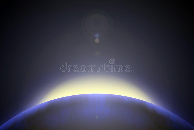 Απεικόνιση - ανατολή πέρα από τον πλανήτη στοκ φωτογραφία με δικαίωμα ελεύθερης χρήσης