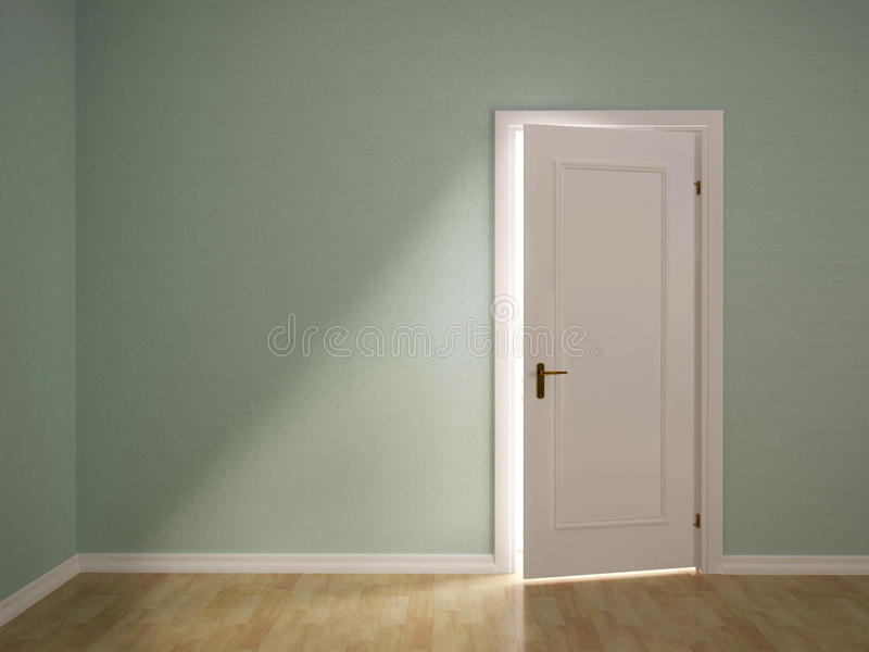 Απεικόνιση ανοικτού η πόρτα στο πράσινο δωμάτιο διανυσματική απεικόνιση