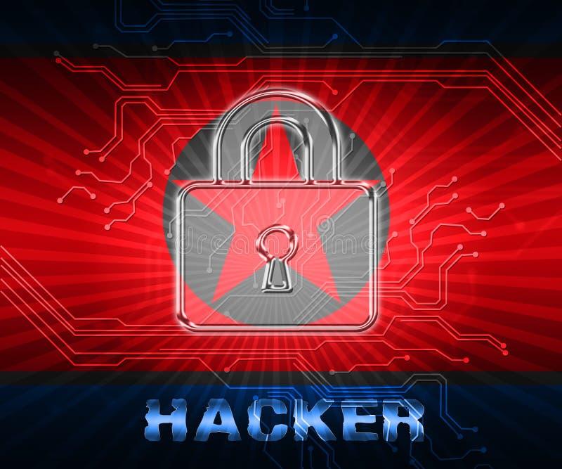 Απεικόνιση απειλής βόρειων κορεατική στοιχείων μέσων χάκερ τρισδιάστατη διανυσματική απεικόνιση