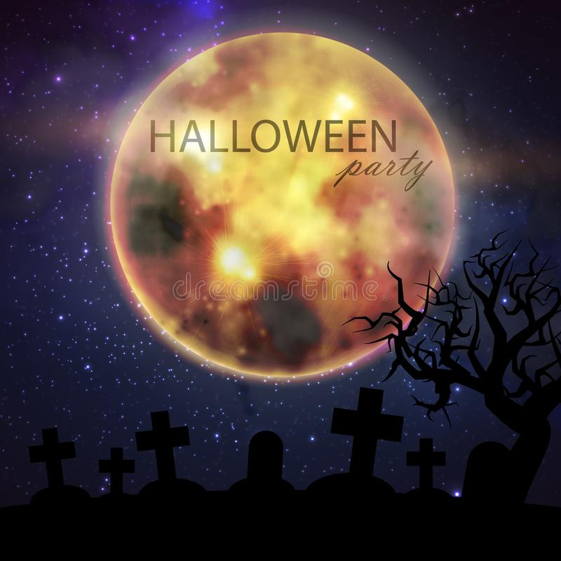 Απεικόνιση αποκριών με τη πανσέληνο και νεκροταφείο στο υπόβαθρο νυχτερινού ουρανού Σχέδιο ιπτάμενων κόμματος απεικόνιση αποθεμάτων