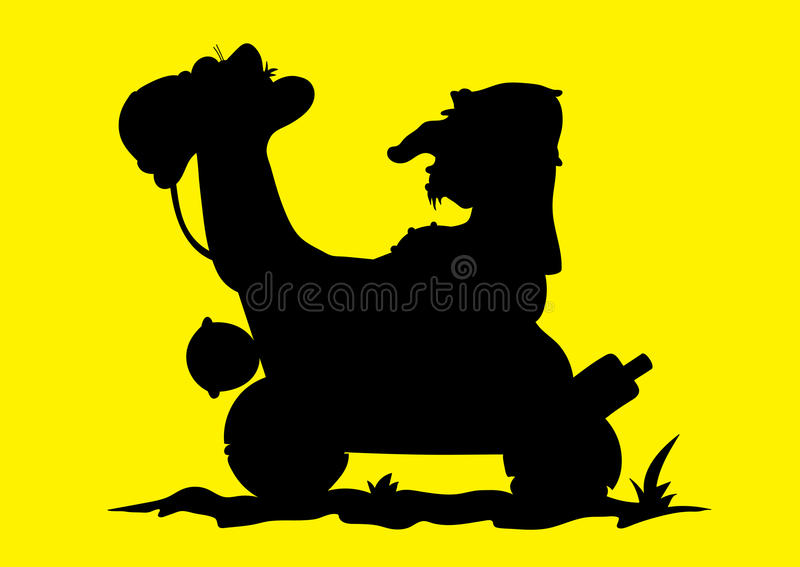 Απεικόνιση αραβικού ενός βεδουίνου οδηγώντας μια καμήλα διανυσματική απεικόνιση