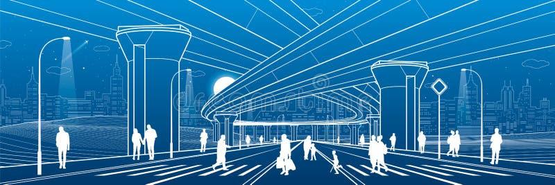 Απεικόνιση αρχιτεκτονικής και υποδομής πόλεων, αυτοκίνητο overpass, μεγάλες γέφυρες, αστική σκηνή Άνθρωποι που περπατούν στην οδό απεικόνιση αποθεμάτων