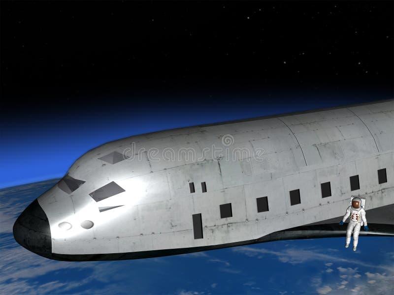 Απεικόνιση αστροναυτών διαστημικών λεωφορείων διανυσματική απεικόνιση
