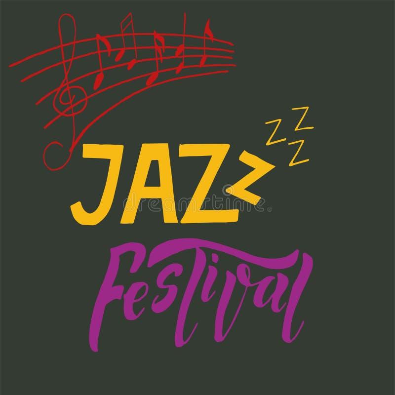 Απεικόνιση αφισών εμβλημάτων φεστιβάλ μουσικής της Jazz με το τριπλές clef και τις σημειώσεις διανυσματική απεικόνιση