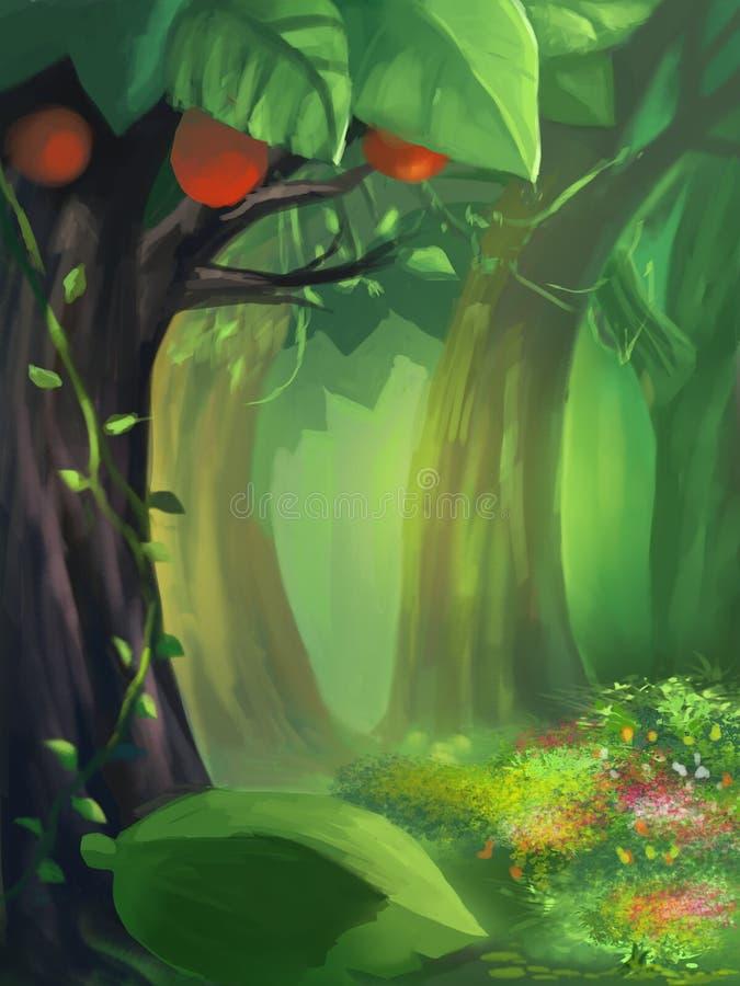 Απεικόνιση: Βαθιά μέσα στο πράσινο δάσος ελεύθερη απεικόνιση δικαιώματος