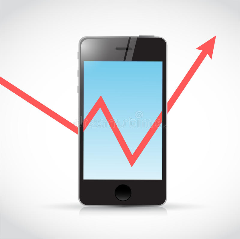 Απεικόνιση βελών γραφικών παραστάσεων τηλεφώνων και επιχειρήσεων απεικόνιση αποθεμάτων