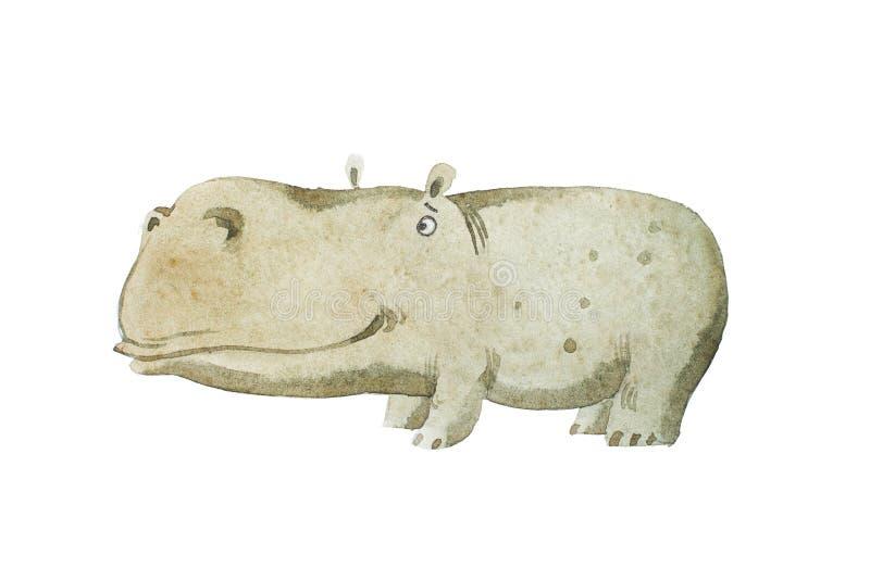 Απεικόνιση βιβλίων παιδιών Watercolor του χαριτωμένου χεριού hippo μωρών που σύρεται διανυσματική απεικόνιση