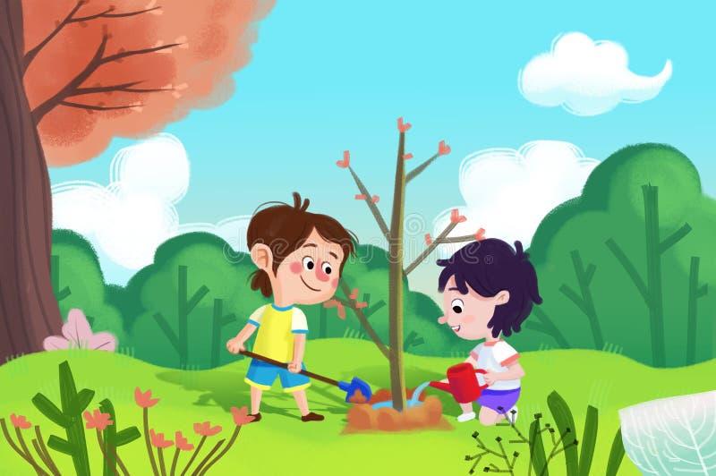 Απεικόνιση για τα παιδιά: Το κορίτσι και το αγόρι φυτεύουν το δέντρο στην ημέρα αξόνων απεικόνιση αποθεμάτων