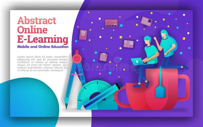 Απεικόνιση για την αφηρημένη σε απευθείας σύνδεση εκμάθηση με τα ζωηρά θέματα Εκπαιδευτικά προγράμματα για on-line την κυβέρνηση  διανυσματική απεικόνιση