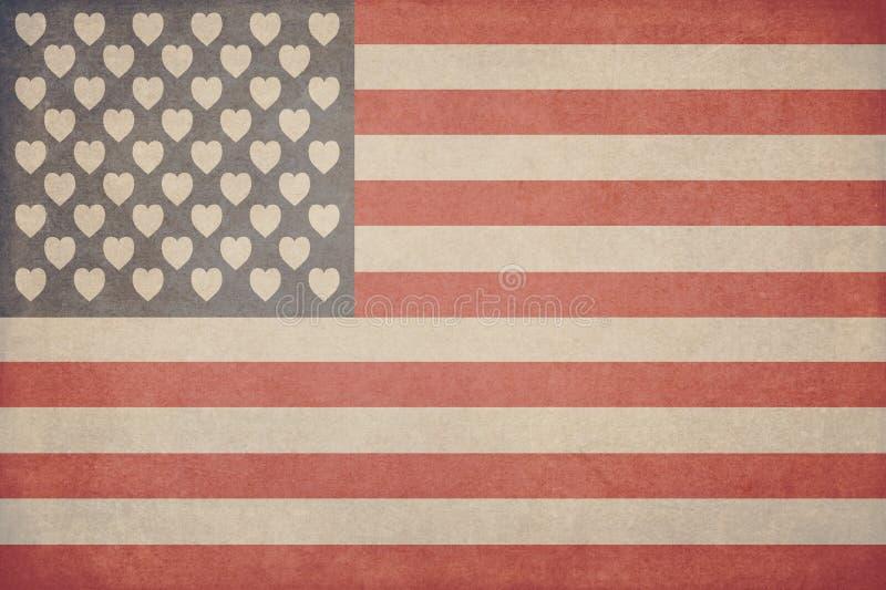 Απεικόνιση για την ημέρα του βαλεντίνου υπό μορφή αμερικανικής σημαίας με τις καρδιές αντί των αστεριών με μια σύσταση στο ύφος απεικόνιση αποθεμάτων