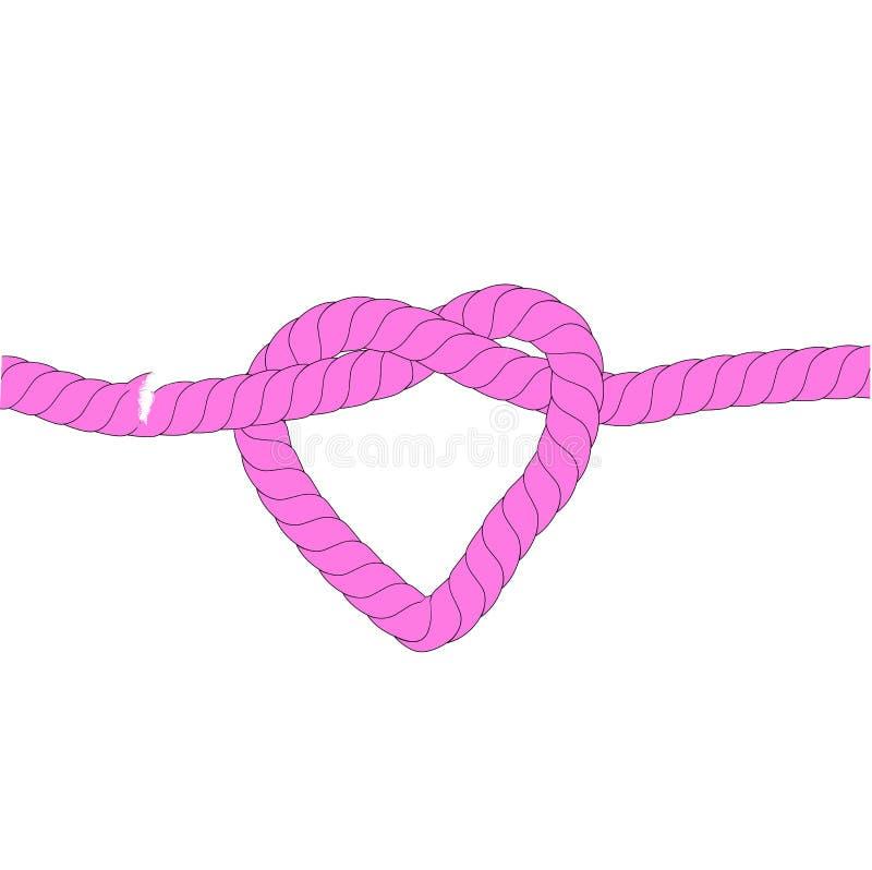 Απεικόνιση για την περίπλοκη σχέση αγάπης, ρόδινο σχοινί, στο άσπρο υπόβαθρο ελεύθερη απεικόνιση δικαιώματος