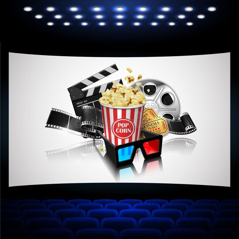 Απεικόνιση για τη βιομηχανία κινηματογράφου Popcorn, εξέλικτρο, ταινία και χειροκρότημα διανυσματική απεικόνιση