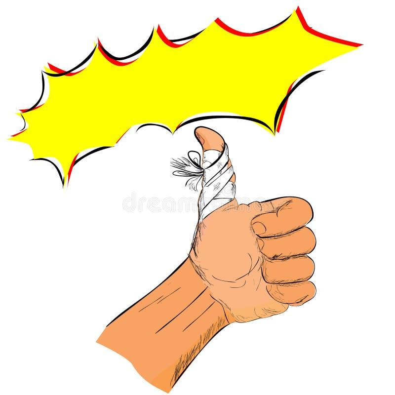 Απεικόνιση για το πνεύμα συντηρήσεων ενώ τραυματισμένος, απλός αντίχειρας Doodle επάνω στο χέρι με τον επίδεσμο διανυσματική απεικόνιση