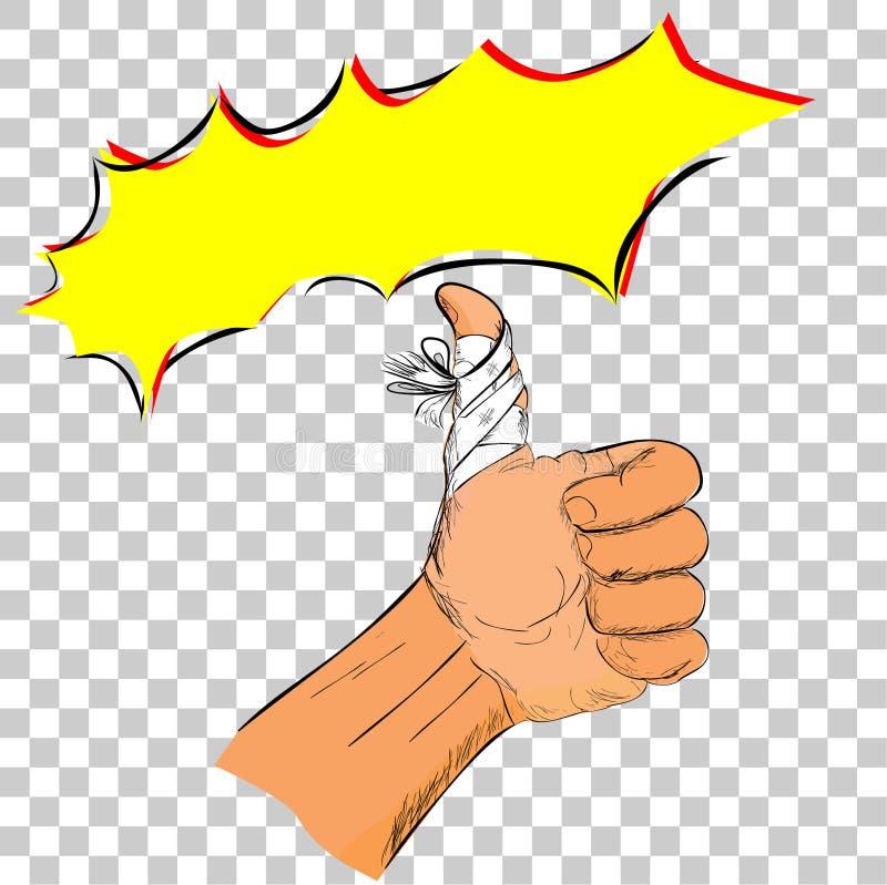 Απεικόνιση για το πνεύμα συντηρήσεων ενώ τραυματισμένος, απλός αντίχειρας Doodle επάνω στο χέρι με τον επίδεσμο στο διαφανές υπόβ διανυσματική απεικόνιση