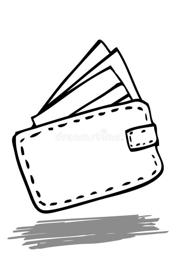 Απεικόνιση για το φυματικό ζωντανό ύφος, πιστωτική κάρτα στο πορτοφόλι, που απομονώνεται στο λευκό διανυσματική απεικόνιση