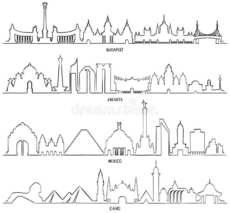 Απεικόνιση γραμμών ταξιδιού και τουρισμού Μεξικό, Βουδαπέστη, Τζακάρτα ελεύθερη απεικόνιση δικαιώματος